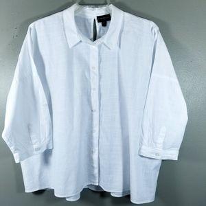 Lane Bryant Womens Sz 18/20 Blouse White Button Up